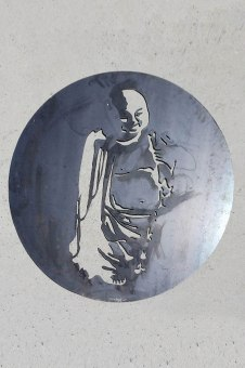 Décoration murale Bouddha acier, diamètre 80cm